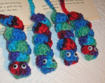 "Crocheted Bookworms, set of 4 with moving eyes.  For readers of All Ages,  size approximately 15"" long."
