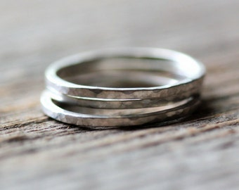 Silver Stacking Rings - Set of Three Sterling Silver Hammered Stacking Rings - Handmade Thin Silver Band Knuckle Midi Ring
