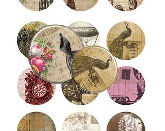 Old World - Set of 12 PRINTABLE 2 inch Circles Digital Download Sheet Scrapbooking