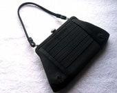 Purse Handbag Clutch Formal Retro Oldie Party Handbag Vintage Black Satin Pleats