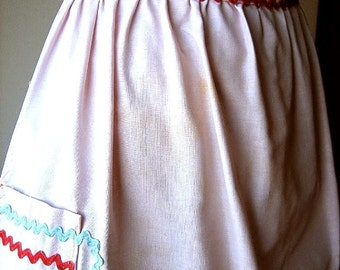 APRON Kitchen Pinafore Cook Skirt Cover Vintage Cotton Pink & Red Blue Ric Rac
