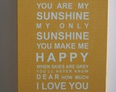 """You are my sunshine A3 wall art canvas (11.7""""x16.5"""")"""
