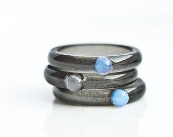 Gemstone Resin Ring Black Blue Opal Rose Quartz Stacking Ring Smooth Ring OOAK