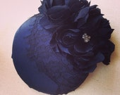 Midnight Blue Pillbox Hat with Lace and Silk Flowers