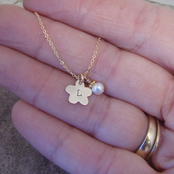 Tiny initial necklace tiny flower girl by filigreepheasant for Gemsprouts tiny plant jewelry