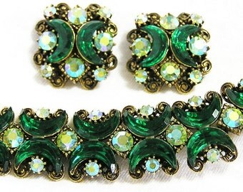 Florenza Emerald Green Crescent Bracelet with Clip Earrings