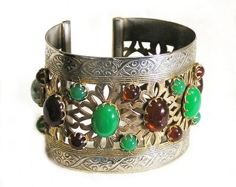 Egyptian Revival Open Ended Wide Cuff Bracelet
