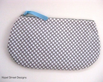 Gray and White Polka Dot Clutch