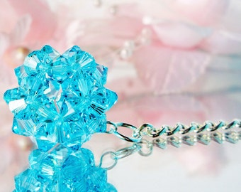 Swarovski Crystal Keychain Turquoise Blue Crystal Ball Key Chains for Women Key Ring