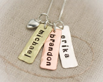 Three 3 Petite Tags Personalized Necklace Copper, Brass and Sterling Silver Hand Stamped Jewelry