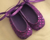 Sweet Violet Purple Sparkle Baby Shoes - Ballet Style With Purple Ankle Ties For Infants And Toddlers