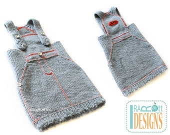 SALE - Jeans Inspired Hand Knit Gray Jump Dress  for 6-12 months READY to SHIP