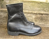 Vintage 1980 Black Leather Combat Steel Toe Boot Addison Shoe Company New Old Stock 91/2