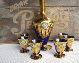Vintage Bohemian Style Venetian Cobalt Blue and Gold Decanter and Glasses