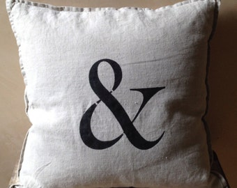 """Linen """"Ampersand"""" Hand Stencilled Pillow"""