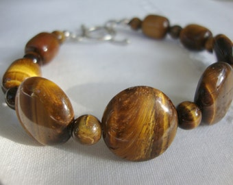 FREE SHIPPING Tigers Eye and Sterling Silver Bracelet