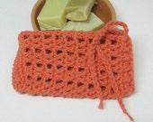 Tangerine Orange Crochet Soap Saver, Cotton Soap Holder, Orange Soap Bag