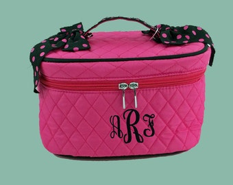 Personalized Cosmetic Train Case Hot Pink With Black Ribbon-Monogram Included
