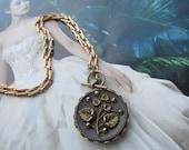 Antique Button Pendant Necklace Or Triple Wrap Bracelet