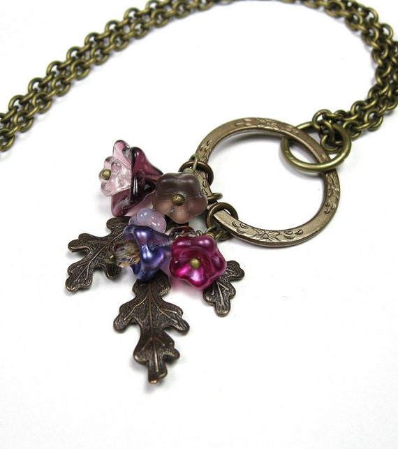 Vintage Style Necklace, Pink, Purple, Fuchsia, Accessories, Czech Glass, Fashion Jewelry, Gifts for Gardeners, Floral, Woodland, Mothers Day