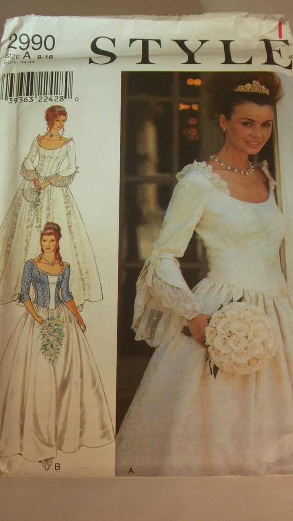 Vintage pattern style 2990 wedding dress pattern victorian for Victorian style wedding dress pattern