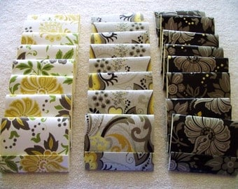 24 -Assorted  Matchbook Notepads -  Floral Patterns  3 inch  x 4 inch fold over sheets - READY TO SHIP