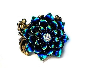 Blue Teal Shimmer Dahlia Ring. Glam Flower Cocktail Ring. Stage Wear. Navy Teal Purple. Statement Ring.