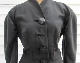 Vintage 1940s Black Detailed Avant Garde Coat or Dress XS S 2 4