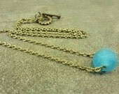 Aqua Recycled Glass Necklace Antiqued Bronze