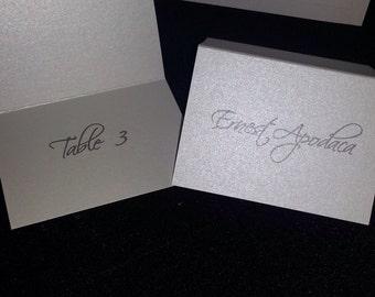 Classic Elegant White and Gray Script shimmer Escort Cards
