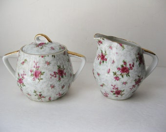 SALE! Chintz Cream and Sugar Set, Floral China