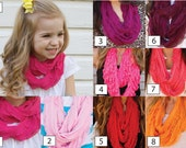 KIDS Infinity Ruffle Scarf - Lightweight Infinity Scarf - Pink - Red - Orange
