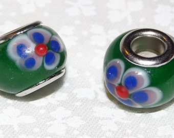 Just Reduced! New Set of 2 Lampwork Glass Beads - Emerald Green with White & Blue Flowers - European-Style - Large Hole -  FREE Shipping