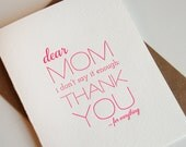 Letterpress Mother's Day card - Thanks Mom