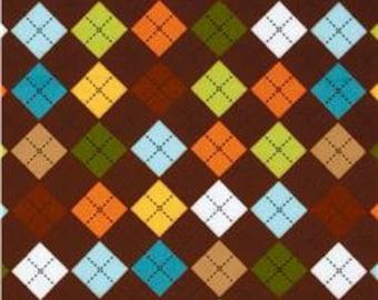 1 yard, Robert Kaufman Remix brown argyle fabric