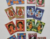 16 PRINTED Frida STICKERS Larger size with Borders- Adhesive backing- Beautiful Colorful reversed Prints- Frida altered art Frida shrine art