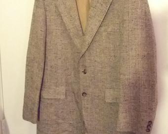 40 brown tweed suitcoat coat jacket blazer men hipster boho college Kuppenheimer