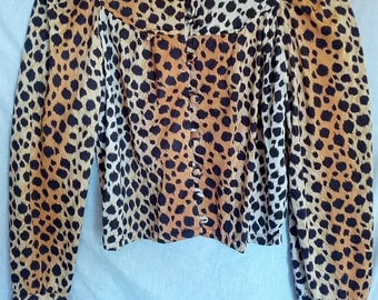 leopard print shirt blouse 1970s Frank Lee of California animal cheetah disco punk grunge mod size 7 8