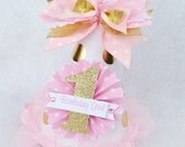 Light Pink and Gold Glamour Girl Birthday Party Hat with Gold Foil and Polka Dots winter onderland wonderland