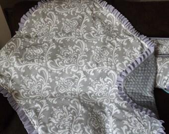 Baby blanket Gray lavendar ruffle minky dot