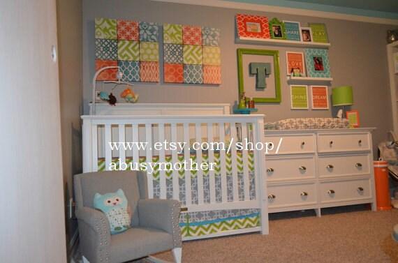 Modern Bumperless Boys Blue Gray Orange Custom Baby Crib
