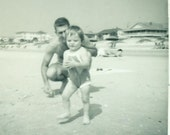 Summer Fun At The Beach Toddler Girl Playing with Dad in the Sand SC 1963 Vintage Black White Photo Photograph
