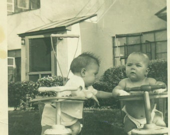 Hey Baby Want A Ride? Babies Sitting in Strollers Front Yard 1940s Vintage Black White Photo Photograph