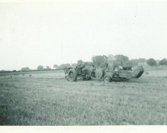 Farmer in The Field Bailing Hay Bales Tractor Plow 1953 Vintage Photo Black and White Photograph