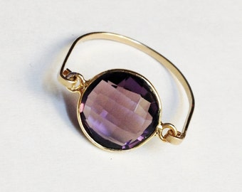 Amethyst Ring, Amethyst Gemstone Ring, February Birthstone, Purple Ring, Amethyst Jewelry. birthstone ring, amethyst crystal, gold ring