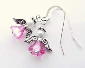 Pink angel earrings, christmas earrings, holiday jewelry, fairy earrings