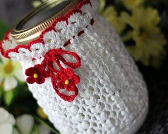 White and Red Mason Jar cozy