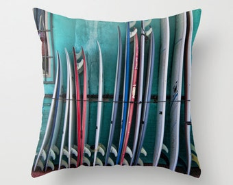 Surfboards Throw Pillow Cover Beach Coastal Surfer Surf Lover 16 x 16