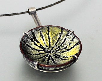 Enamel Necklace - Sgraffito Mustard Yellow, Charcoal Grey and White, Black Enamel - Yellow Grey Enamel Necklace - Enamel Sterling Silver