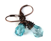 Aqua blue briolette and antique copper leverback earrings (218) - Flat rate shipping